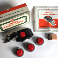 Singer Automatic ZigZagger 161103 Class 301 Sewing Machine, Manual, Stitch Pattern Attachments, Brush Original Box Vintage Mid Century 1950s