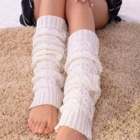 WAWO Women Lady Fashion Knee High Leg Socks Banket Winter Knit Crochet Warmer Legging-White (White)
