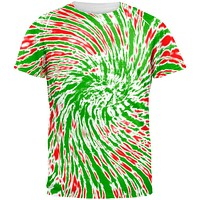 Christmas Tie Dye Red Green All Over Adult T-Shirt
