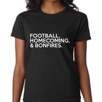 Awesome Football Homecoming And Bonfires T Shirt Great Back To School T Shirt Ladies & Mens  School Colors Available Great School Shirt