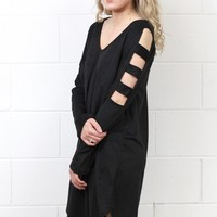 Cut Out Ladder Sleeved Suede Dress {Black}