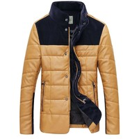 Partiss Mens Stand Collar PU Leather Jacket