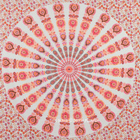 White  Orange Mixed Mandala Tapestry, Hippie Boho Wall Hanging Bedspread on RoyalFurnish.com
