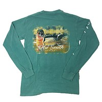 Old South Wood Duck Comfort Colors Seafoam Long Sleeve Unisex T-Shirt