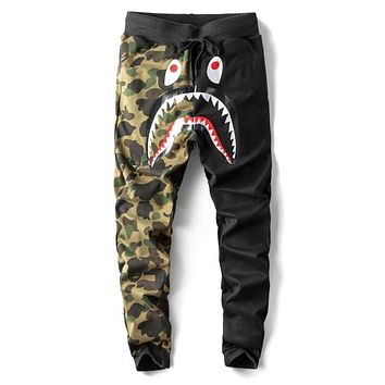 Bape Aape Autumn Winter Trending Women Men Stylish Shark Mouth Print Drawstring Sport Pants Trousers Sweatpants Black