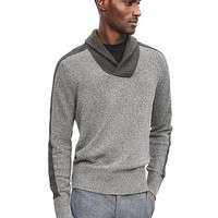 Banana Republic Mens Ribbed Wool Blend Shawl Collar Pullover