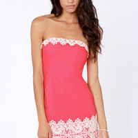 Fruit Punch Strapless Coral Pink Dress