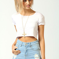 Blair Stone Wash High Waist Ripped Denim Shorts