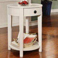 White finish wood round top chair side end table with pull out drawer and lower shelf
