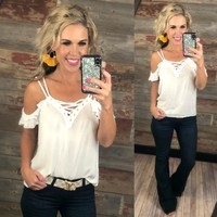 Off and On Cold Shoulder Top: White