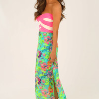 The Travel Time Crop Top: Neon Pink/Cream