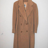 long tan wool coat 80s vintage minimalist classic double breasted overcoat medium