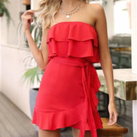 Fashion New Solid Color Lotus Leaf Side Strapless Dress Women Red