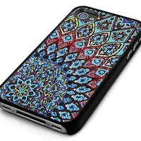 Black Snap-On iPhone Cover Case for 4/4S iPhone - Aztec Mayan Mosaic Design - Height:4.5 Inches X Width: 2.5 Inches X Thickness:0.5 Inches