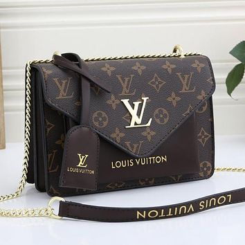LV Louis Vuitton Leather Crossbody Satchel Shoulder Bag Messenger bag