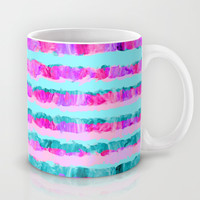 Painted Purple Party Stripes - with pink, teal, mint & aqua Mug by TigaTiga Artworks
