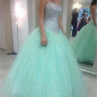 Mint Green Prom Dresses Long 2016 Real Life Sexy Sweetheart Silver Semicircle Pearls Princess Ball Gowns Vestidos De Festa