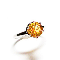"""Fire opal, fire opal ring, engagement ring, fire yellow, solitaire ring, yellow, s 10  """"Smoldering Love"""""""