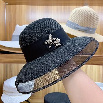 Summer All-match Temperament Flower Pearl Gauze Fisherman Hat Bucket Hat Women Beach Straw Sun Cap