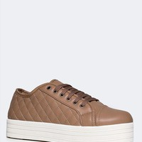 Quilted Lace Up Platform Sneaker