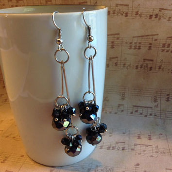 """Handmade Swingy Black & Silver Faceted Czech Crystal Rondelle and Bicone Beads 3-1/4"""" (80mm) Long Double Dangle Earrings CHEP0001-BL USA"""