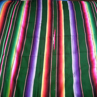 Stunning Vintage 1950s Multi-Colored Mexican Serape Blanket  - 60in x 83in -