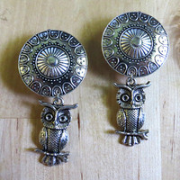 """2g - 1"""" (6mm-25mm) / Dangly Owl / Plugs Gauges Stretchers Earrings / Stretched Gauged Ears"""