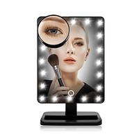 Sumnacon LED Lighted Vanity Mirror - Battery Operated Cordless Cosmetic Makeup Mirror / Table Mirror / Travel Mirror with 16 LEDs, Lights Dimmable by Touching On/Off Button (Black)