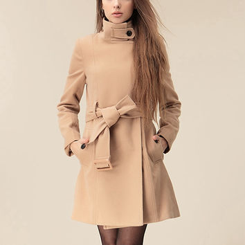'The Manuela' Nude Colored Belted Trench Coat