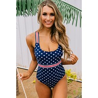 """Passionately Patriotic"" Stars And Stripes One Piece Swimsuit (Navy)"
