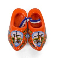Wooden Doll Shoes Orange And Windmill  Design