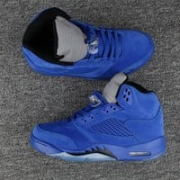 Beauty Ticks 2017 Air Jordan Retro 5 5s Blue Suede Raging Bulls Anger Men Basketball Shoes With Silver Gray 3m Reflective Tongue 136027-401