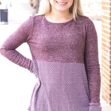 Plum Chevron Contrast Brushed Knit L/S