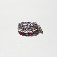 Crystal Stretchy Rings - Silver, Purple and Red