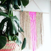 Macrame Curtain- Macrame Wall Hanging~ Dorm Furniture~ Boho Wall Decor~ Wedding Decor~ Pink Wall Accent- Bohemian Decor- Boho Decor~ Jute