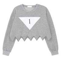 Grey Zigzag Sweatshirts with Triangle  Print