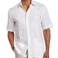 Cubavera Men's Short Sleeve Contrast Panel Guayabera Shirt, Bright White, Medium