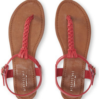 Solid Braided T-Strap Sandal