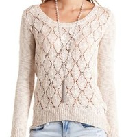Slub Knit Pointelle High-Low Sweater by Charlotte Russe