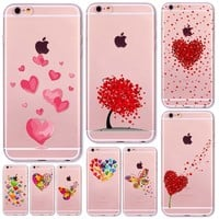Watercolor Butterfly Pink Love Heart Transparent Silicon Protective Cell Phone Cover For iphone 7 6 6s 5 5s se 7 Plus Case