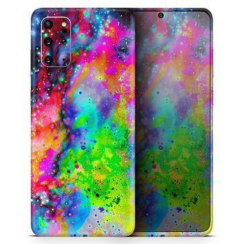 Neon Splatter Universe - Skin-Kit for the Samsung Galaxy S-Series S20, S20 Plus, S20 Ultra , S10 & others (All Galaxy Devices Available)