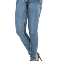 ACID WASHED SKINNY JEAN WITH ADJUSTABLE WAISTBAND