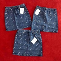 Balenciaga Print Fashion Denim Skirt