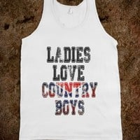 LADIES LOVE COUNTRY BOYS - WHITE TANK