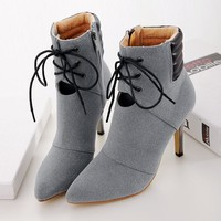 Women's Pointed Toe Lacing High Heel Boots