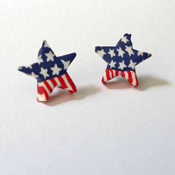 VOTE Election Year Presidents Day HYPOALLERGENIC Post Earrings Stars and Stripes Red White and Blue Clay Star Earrings Patriotic Jewelry