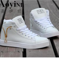 2017 Hot Fashion High Top Casual Shoes For Men PU Leather Lace Up White Black Color Mens Casual Shoes Men High Top Shoes