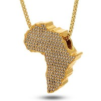 ICED OUT Mother Africa Diamond Pendant Necklace in 18K Gold