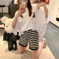 """Moschino"" Women Casual Fashion Letter Print Short Sleeve T-shirt Multicolor Stripe Shorts Set Two-Piece"