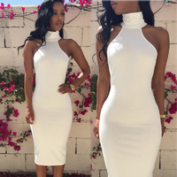 Women Elegant Party Bandage Bodycon Summer Sleeveless Pencil Casual White Cocktail Dress